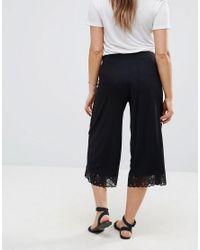 ASOS - Black Lace Hem Wide Leg Crop Pant - Lyst