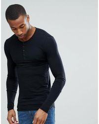 ligera negro Grandad larga musculoso con Camiseta curvo de estilo granate y manga hombre dobladillo para diseño qvwRtF