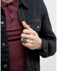 Icon Brand - Chunky Signet Ring In Black for Men - Lyst