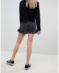 Daisy Street - Black High Waist Shorts With Ruffle Hem In Spot - Lyst