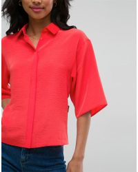 ASOS - Red Blouse With Tie Back Detail - Lyst