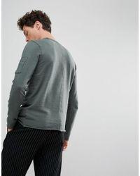 SELECTED - Gray Sweatshirt With Raglan Sleeve And Straight Hem for Men - Lyst