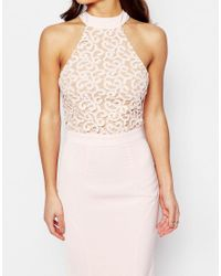 Jarlo - Pink Caden Lace Detail Halter Neck Maxi Dress - Lyst