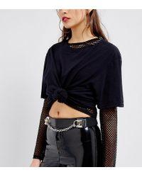 Reclaimed (vintage) Black Inspired Piercing Chain Leather Belt