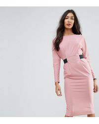 ASOS - Pink Midi Dress With Elastic Waist Detail - Lyst