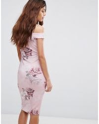 Be Jealous - Pink Printed Bardot Pencil Dress - Lyst