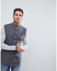 Siksilk - Muscle Shirt In Gray With Jersey Sleeves for Men - Lyst