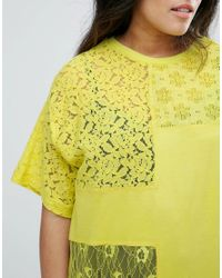 ASOS - Yellow T-shirt In Oversized Fit With Cutabout Lace - Lyst