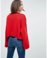 ASOS - Red Crop Cardigan With Wide Sleeves - Lyst