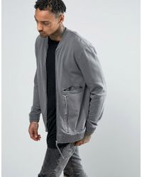 Men's Gray Jersey Bomber Jacket With Woven Panels ...