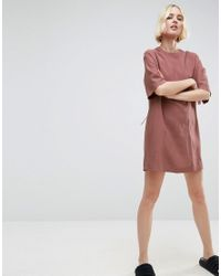 ASOS | Pink Lattice Back Tshirt Dress With Eyelet Detail | Lyst