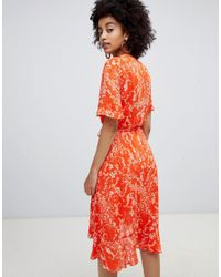 Soaked In Luxury - Orange Pleated Print Wrap Dress - Lyst