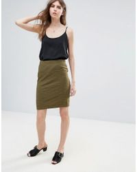 Ichi - Green Textured Skirt - Lyst