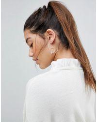 Pieces - Metallic Sterling Silver Roliva Hoop Earrings - Lyst
