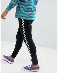 9ab8dd1e6 Brooklyn Supply Co. - Black Sweatpants With Checkerboard Side Stripe for Men  - Lyst