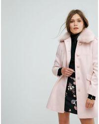 Miss Selfridge - Multicolor Faux Fur Collar Pea Coat - Lyst