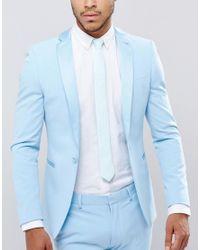 ASOS - Green Slim Tie In Mint Texture for Men - Lyst