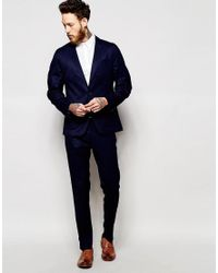 ASOS - Blue Slim Blazer In Navy for Men - Lyst