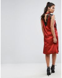 ASOS - Red Lace Insert Dress - Lyst