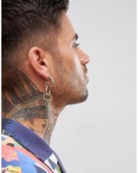 ASOS DESIGN - Metallic Design Statement Spike Earring In Burnished Gold for Men - Lyst
