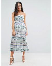 Traffic People - Blue Squiggle Print Bandeau Dress - Lyst