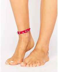 ASOS - Pink Embellished Friendship Anklet - Lyst