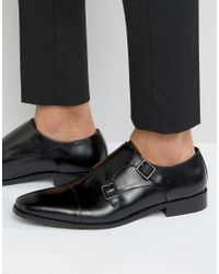 Dune | Black Putney Monk Strap Shoe for Men | Lyst
