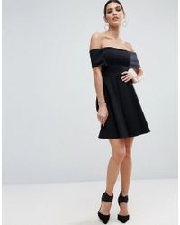 ASOS | Black Deep Bardot Mini Skater Dress | Lyst