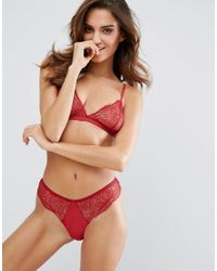 Mango | Red Triangle Lace Bralette | Lyst