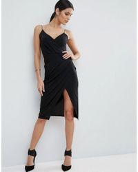 ASOS | Black Slinky Midi Dress With Wrap Skirt | Lyst
