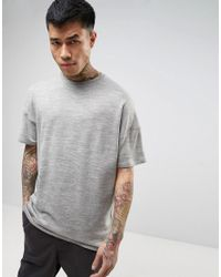 ASOS | Oversized T-shirt In Gray Heavyweight Knitted Jersey for Men | Lyst