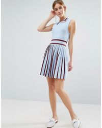 ENGLISH FACTORY - Blue Knitted Dress With Pleated Skirt - Lyst