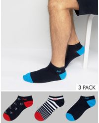 Pringle of Scotland | Blue Invisible Socks In 3 Pack With Ancor And Stripe Print for Men | Lyst