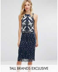 Frock and Frill | Blue Premium Embellished 2 In 1 Shift Dress | Lyst