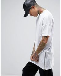 ASOS | White Super Longline T-shirt With Extreme Long Side Zips In Textured Mesh Fabric for Men | Lyst