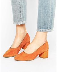 Mango | Orange Suede Block Heel Court Shoe | Lyst