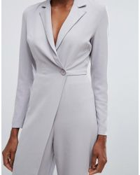 Lavish Alice - Gray Tailored Jumpsuit With Wrap Detail - Lyst