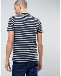 Farah - Gray Lennox Striped Logo T-shirt for Men - Lyst