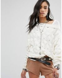 Free People | White Desert Sands Cable Pullover Jumper | Lyst
