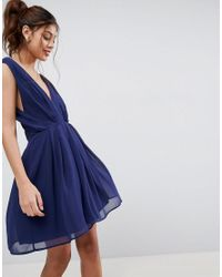 Cut Out Back Mini Dress - Navy Asos QPWe1exI
