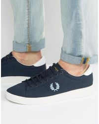 Fred Perry | Blue Spencer Canvas Trainers for Men | Lyst