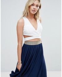 Wal-G   White Cross Front Crop Top   Lyst