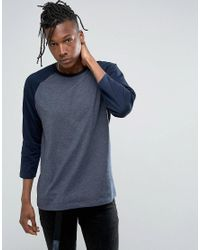 ASOS | Blue Relaxed Fit Raglan Long Sleeve T-shirt In Navy for Men | Lyst
