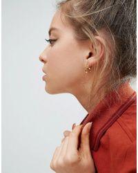 ASOS - Metallic Gold Plated Sterling Silver Stud Hoop 12mm Earrings - Lyst