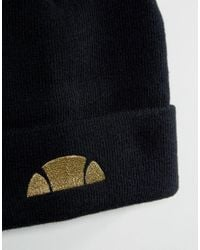 Ellesse - Black Beanie With Small Logo for Men - Lyst