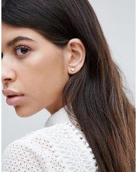 Orelia - Metallic Heart Stud Earrings - Lyst