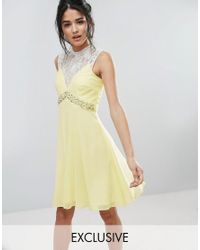 Elise Ryan | Yellow Sweetheart Skater Dress With Embellished Waist | Lyst