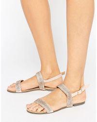 Little Mistress | Multicolor Two Strap Flat Sandals Rhinestone Embellishment | Lyst