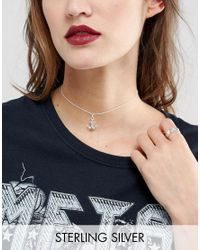 ASOS - Metallic Sterling Silver Anchor Choker Necklace - Lyst