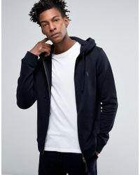 AllSaints | Blue All Saints Zip Hoodie With Chest Branding for Men | Lyst